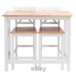 Modern Kitchen Dining Breakfast Bar Table and 2 High Chairs Stools Set Pine Wood