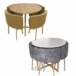 Modern Round Dining Table and 4 Chairs Space Saver Dining Set Home Cafe Table