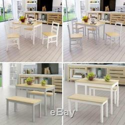 Modern Solid Wood Dining Table and 2 / 4 Chairs Bench Set in White/Grey/Natural