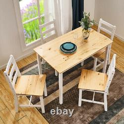 Modern Solid Wooden Dining Table and 4 Chairs Set Home Kitchen Furniture