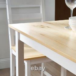 Modern Solid Wooden Dining Table and 4 Chairs Set Home Kitchen Furniture Natural