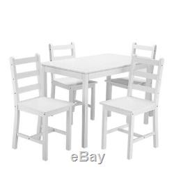 Modern Solid Wooden White Dining Table and 4 Chairs Set Home Kitchen Furniture