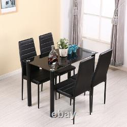Modern Stunning 105cm Glass Dining Table and 4 Chairs Set Home Room Furniture
