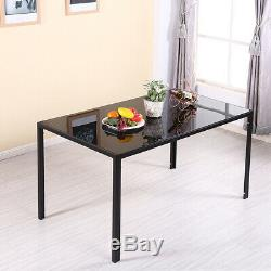 Modern Stunning 120cm Glass Dining Table and 4 Chairs Set Dining Room Furniture