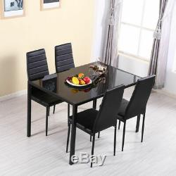 Modern Stunning Black Glass Dining Table and 4 Chairs Set Dining Room Furniture
