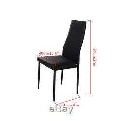 Modern Stunning Black Glass Dining Table and 6 Chairs Set Dining Room Furniture