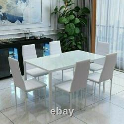 Modern White Dining Table and 6 Padded Chairs Set Home Kitchen Furniture New