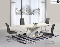 Modern White High Gloss Extending Dining Table And Grey Chairs, High Gloss Table