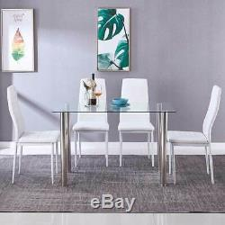 Modern White High Gloss Glass Top Dining Table And 4 Faux Leather Dinning Chairs