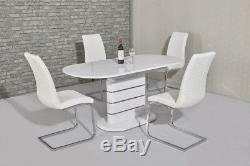Modern white high gloss and steel extending dining table with chairs option