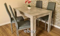 Modern wood stone grey Dining Table, 4 PU faux leather chairs & bench options