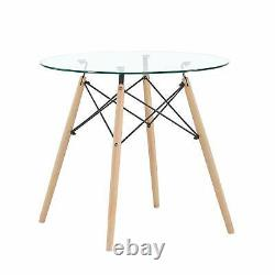 Morden Round Glass Dining Table And 4 Dining Chair Solid Wood For Small Kitchen