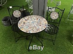 Mosaic Garden Table and 2 Chairs