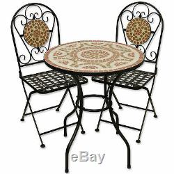 Mosaic Outdoor Dining Garden Table And Folding Chair Set Terracotta