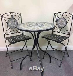 Mosiac Metal Bistro Set Table and 2 Chairs Foldable Outdoor Garden Set