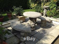 (NEW)Garden Table and Benches, Concrete Stone Garden table Chairs, Curved Design
