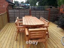NEW Solid Wood Garden Patio Furniture 6 ft table & 6 Chairs