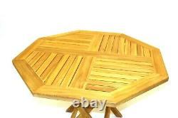 NEW Teak Wooden Garden Furniture Sets, 4 Folding Chairs and 1 Octagonal Table