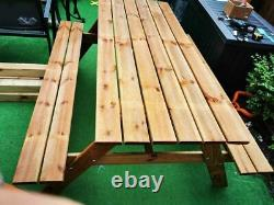 NEW! WOOD Picnic PUB Table and Bench Set Wooden 160x71H cm wholesale 6 SEATS