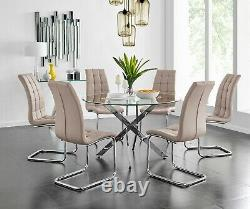 NOVARA Chrome Large Round Glass Dining Table And 4 6 Leather Dining Chairs