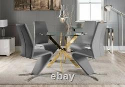 NOVARA Gold Round Glass Dining Table And 4 Black White Grey Dining Chairs