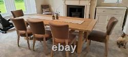 Neptune Arundel Oak Table, oak Arundel bench and 6 Mowbray velvet dining chairs