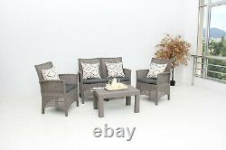 New Garden Furniture Set 4 Piece Chairs Sofa Table Outdoor Patio Conservatory