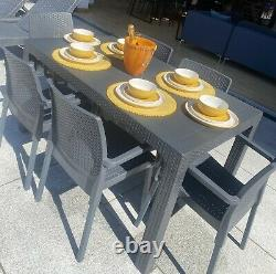 New Outdoor Garden Rattan Style 6 Seater Dining Set -Table and chairs grey