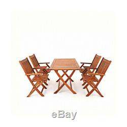 New Outdoor Patio Garden Furniture Acacia Wood Foldable Table and 4 Chairs Set