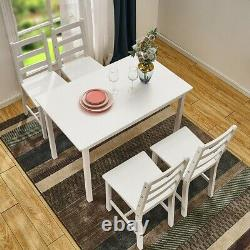 New Solid Wood Dining Table and 4 Chairs Set Home Kitchen Furniture 4 Colours