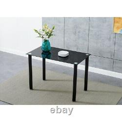 New Stunning Black Glass Dining Table and 4 / 6 Chairs Set Dining Kitchen Room