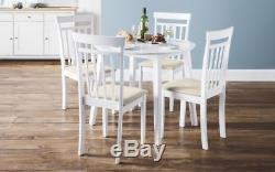 New Stunning Coast White Wooden Drop Leaf Dining Table, Set and Chairs