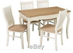 New Stunning Cream Shabby Chic Dining Set Table and 4 Chairs