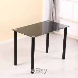 New Stunning Glass Dining Table and 4 Padded Chairs Set in Black Home Furniture