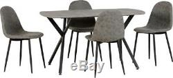 New Stunning Retro Dining Table And 4 Leather Chairs Grey Wooden Dining Set