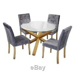 New Stunning Round Glass Top Dining Set Table and 4 Silver Crushed Velvet Chairs