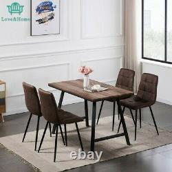 New Wood Dining Table and Chairs Black Metal leg Room Chairs Kitchen Grey Chairs