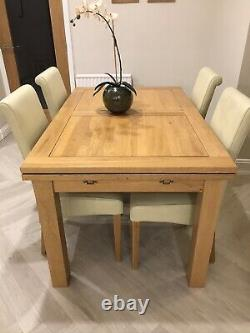Oak Furniture Land Extendable Dining Table And 6 Chairs Used