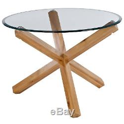 Oak & Glass Round Dining Table and Chair Set with 4 Fabric Seats Beige Grey