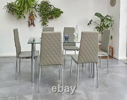 Orsa Chrome Glass Dining Table and chairs 6 set Faux Leather Dining Chairs Set