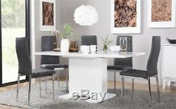 Osaka & Renzo Extending High Gloss Dining Room Table and 4 6 Chairs Set Grey