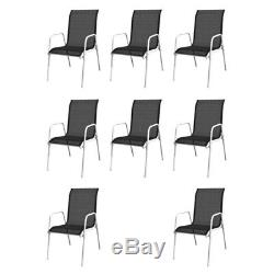 Outdoor Garden Dining Table and 8 Textilene Chairs Set Home Durable Furniture