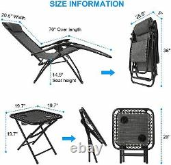 Outdoor Garden Patio Table and 2 Lounger Chairs Set Recliner Zero Gravity Seat