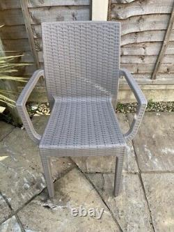 Outdoor Rattan Garden Table & Chairs 6 seater stackable Dark Grey or Taupe Range