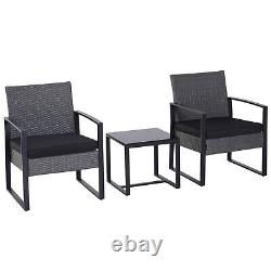 Outsunny 3 Pieces Rattan Patio Bistro Set 2 Chairs Coffee Side Table Set