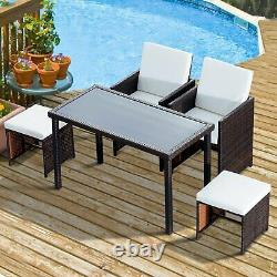 Outsunny 5PC Rattan Dining Set Foldable Tables and Chairs with Footrest Garden