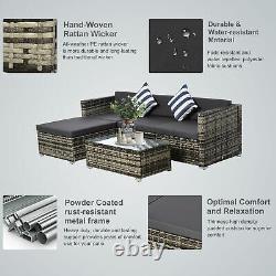 Outsunny 5 PC Rattan Sofa Set Patio Wicker Table Chair Dark Grey