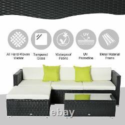 Outsunny 5 PCs Rattan Sofa Set Patio Wicker Table Chair Sectional Cushion Garden