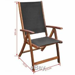 Oval Dining Table and 6 Folding Chairs Wooden Garden Furniture Set Outdoor Patio