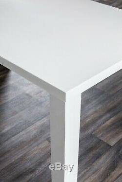 PIVERO White High Gloss Dining Table Set And 6 Chrome Leather Dining Chairs